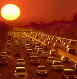 Traffic jam in Los Angeles at sunset poster