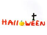 Halloween inscription from plasticine poster