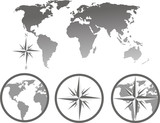 world map and compass