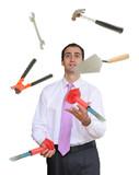 Businessman juggling hand tools poster