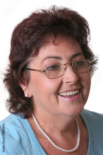 middle-aged woman with glasses