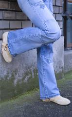 Blue jeans legs