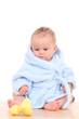 baby in bathrobe
