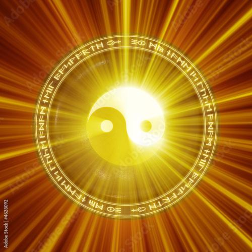 A Yin-Yang icon illuminated from behind.