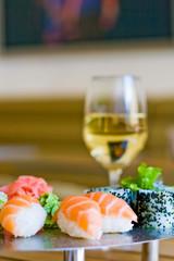 sushi and white wine