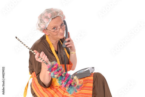 Cleaning lady on phone