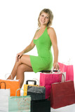 Shopping woman with colored package poster