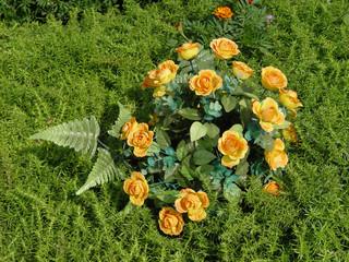 plastic flowers in cemetery