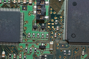 Close-up of computer mainboard - Electronics concept
