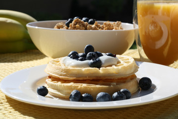 Blueberry Waffles Breakfast