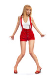 pin-up girl in red shorts poster