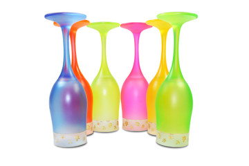 Six colored tall glasses