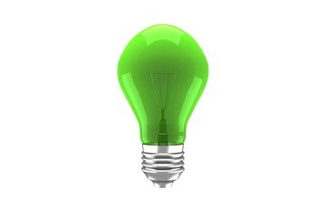 green light bulb on white
