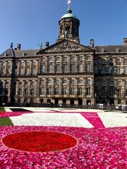 Dam Square Amsterdam with Floral Display