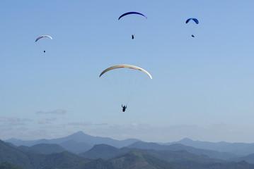 Paraglider über dem Atlantischen Regenwald