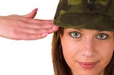 Girl in military cap saluting isolated on white poster