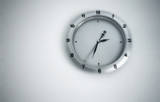 Clock with blur effect poster