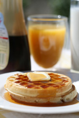Waffles with Juice and Coffee Breakfast