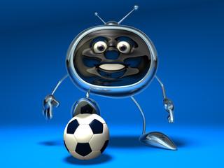 Télévision qui joue au football