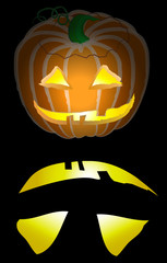 Jack o Lantern Black Background Glowing Face