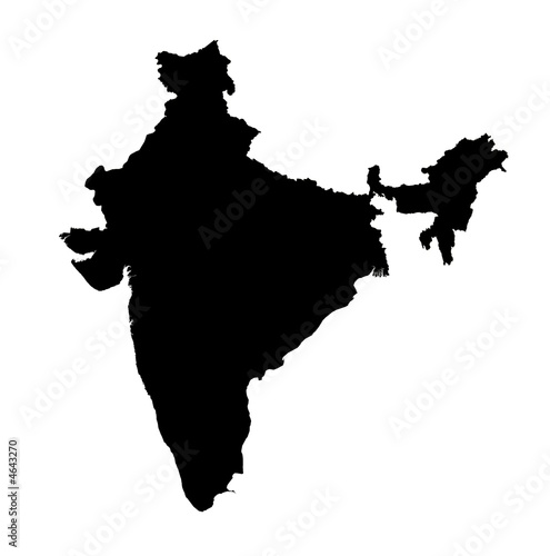 detailed isolated b/w map of India