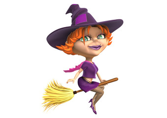 Halloween witch as 3d charming cartoon riding magic broom