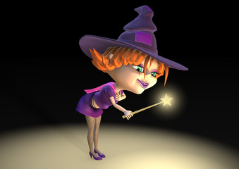 Halloween sorceress as 3d charming cartoon with magic star wand