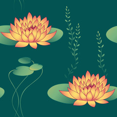 lotus flowers and waterweed in seamless pattern