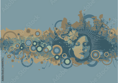vector grunge background with the female face