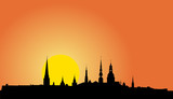 Old Riga panorama silhouette at sunrise (Vector illustration) poster