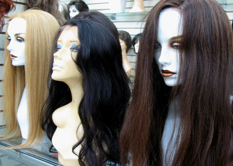 Natural hair handwoven wigs on exceptional white mannequin heads