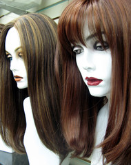 Natural handwoven wigs on exceptional white mannequin heads
