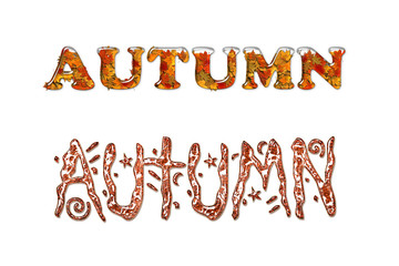 autumn. Art inscription. Decorating.word.  text. Decorating