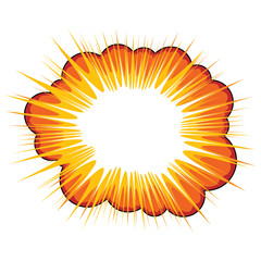 Orange explosive callout area for text over white background