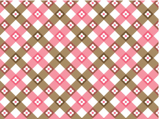 retro flower pink and brown plaid (vector)