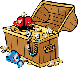 An antique chest full of gold and treasure