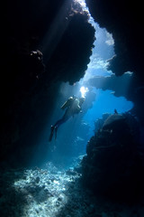 Diver in a cave