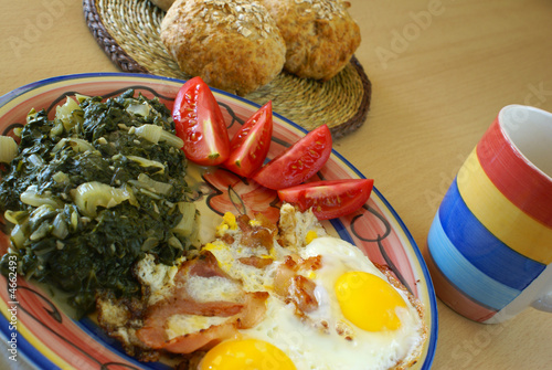 Fried eggs with boiled chard