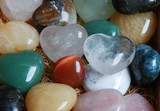 colorful heart shaped gemstones poster