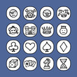 black and white icons set - games