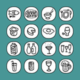 black and white icons set - food 3