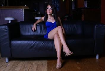 young model sitting cross legs