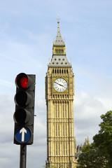 Big Ben & Traffic Light on Red