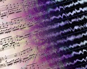 Printed music and waveforms