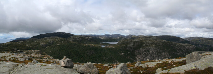 high in mountains in Norway near Preikestolen