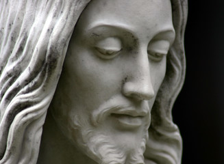 Jesus black and white, close-up