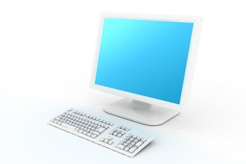 white monitor with keyboard