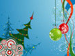 Christmas background with trees, vector illustration