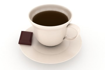 cup of coffee with peace of chocolate