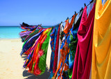 colorful clothes hanging from a clothes line on the beach - Fine Art prints